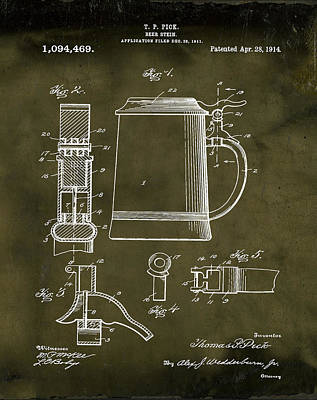 Stein Drawing - Beer Stein Patent 1914 In Grunge by Bill Cannon
