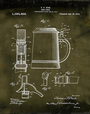 Stein Digital Art - Beer Stein Patent 1914 In Grunge by Bill Cannon