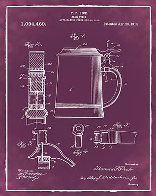 Stein Digital Art - Beer Stein Patent 1914 In Red by Bill Cannon