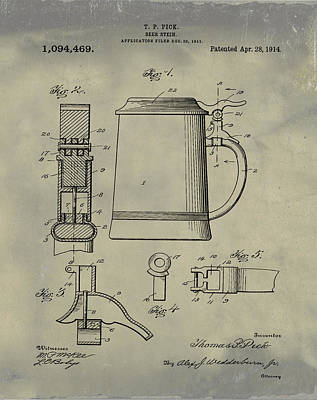 Stein Digital Art - Beer Stein Patent 1914 In Weathered by Bill Cannon