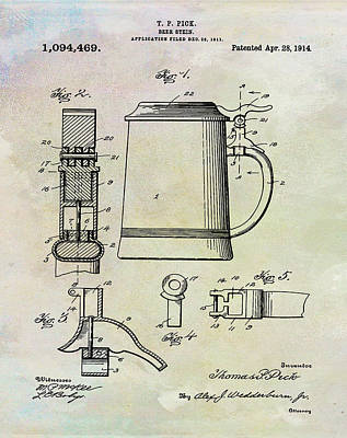 Stein Drawing - Beer Stein Patent 1914 In Weathered by Bill Cannon