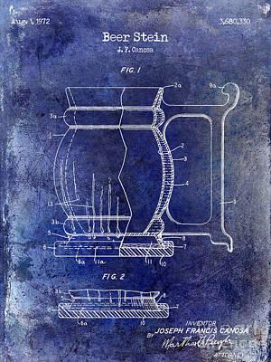 Stein Photograph - Beer Stein Patent Blue by Jon Neidert