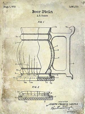 Stein Photograph - Beer Stein Patent by Jon Neidert