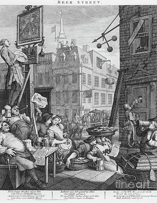 Satire Wall Art - Drawing - Beer Street, 1751 by William Hogarth