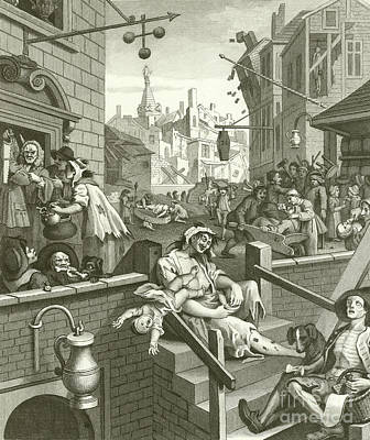 Beer Street And Gin Lane  Art Print by William Hogarth