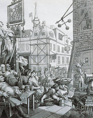 Tankard Drawing - Beer Street In London by William Hogarth