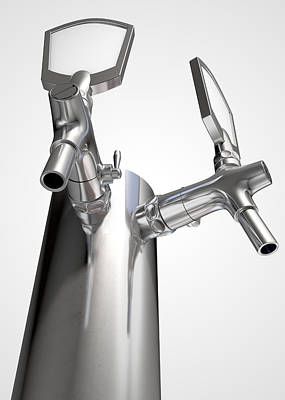 Faucet Digital Art - Beer Tap Dual Isolated by Allan Swart