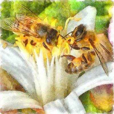 Painting - Bees And Flowering Plants Watercolor by Taiche Acrylic Art