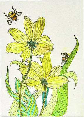 Drawing - Bees And Flowers by Harriett Masterson