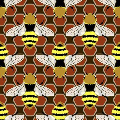 Digital Art - Bees And Honeycomb Pattern by MM Anderson