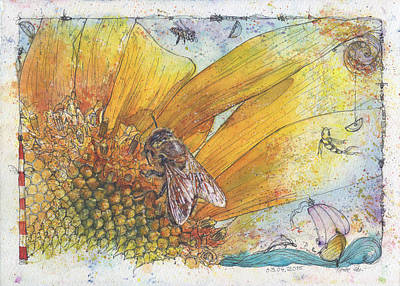 Girasol Painting - Bees And Sunflower by Petra Rau