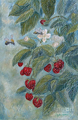 Painting - Bees Berries And Blooms by Phyllis Howard