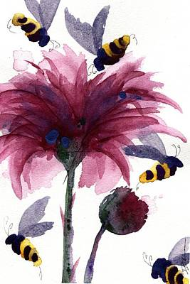 Thistle Painting - Bees In The Thistle by Dawn Derman