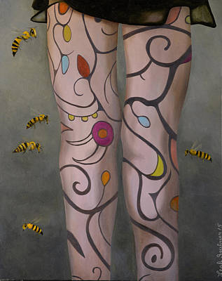 Panty Painting - Bees Knees by Leah Saulnier The Painting Maniac