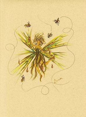 Art Print featuring the drawing Bees To Honey by Dawn Fairies