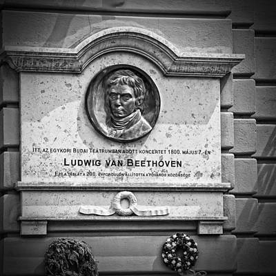 Photograph - Beethoven Budapest Plaque by Phil Cardamone