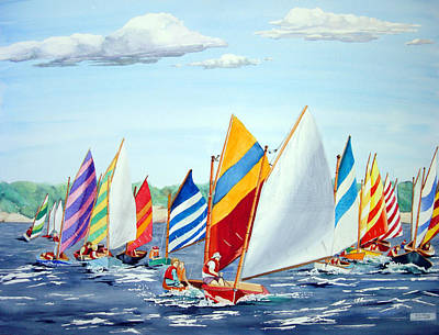 Beetle Cat Painting - Beetle Cat Race At Buzzards Bay by Jacklyn William