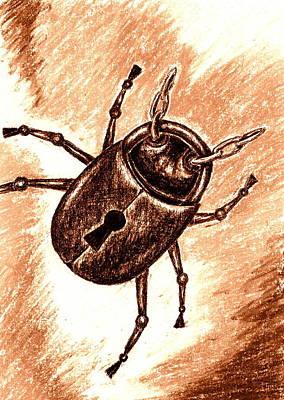 Drawing - Beetle Lock by Kat Heckenbach