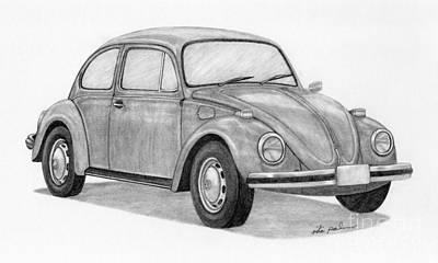 Vw Beetle Drawing - Beetle by Rita Palmer