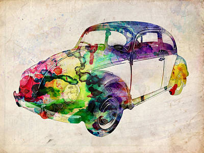 Urban Watercolor Digital Art - Beetle Urban Art by Michael Tompsett