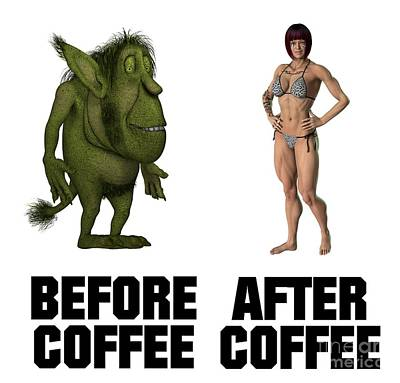 Bikini Digital Art - Before Coffee, After Coffee by Esoterica Art Agency