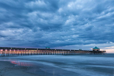 Photograph - Before Sunrise At Folly Beach Pier, South Carolina by Denise Bush