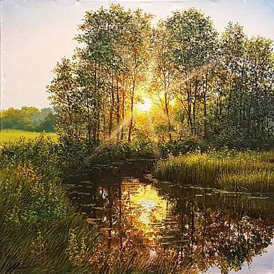 Wall Art - Painting - Before Sunset by Oleg Riabchuk