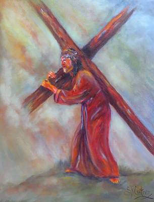 The Wooden Cross Painting - Jesus, Before The Darkest Hour, by Sandra Cutrer