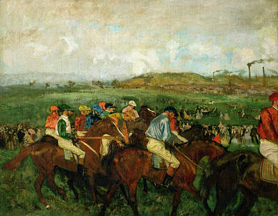 Horse Race Painting - Before The Departure by Edgar Degas
