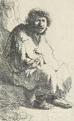 Beggar Seated On A Bank Art Print
