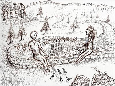 Drawing - Begging Birds by Jim Taylor