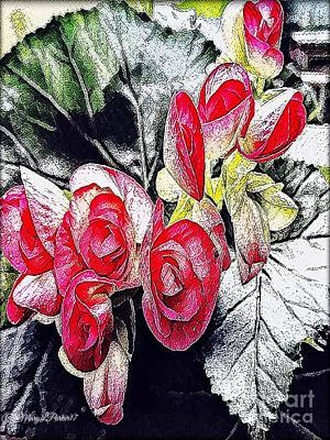 Mixed Media - Begonia  Blooming  by MaryLee Parker