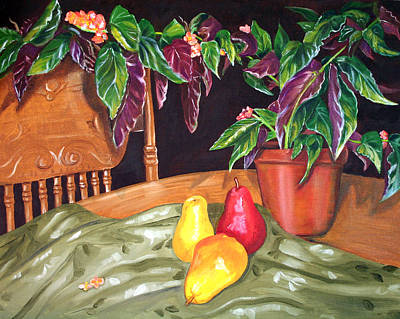 Begonias And Pears Art Print by Dorothy Riley