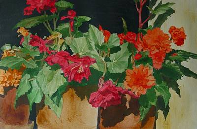 Painting - Begonias Flowers Colorful Original Painting by Elizabeth Sawyer