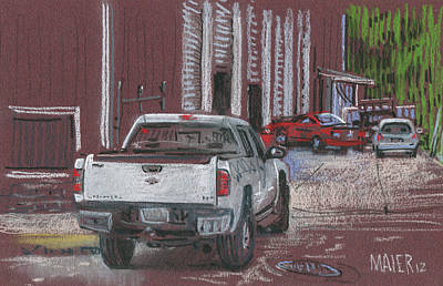 Truck Drawing - Behind Jack's by Donald Maier