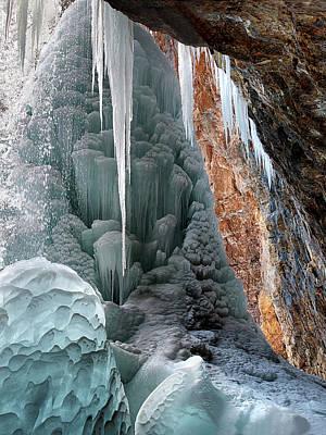 Digital Art - Behind Spouting Rock  Frozen Waterfall - Hanging Lake - Glenwood by OLena Art Brand