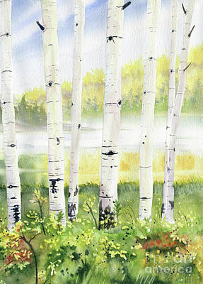 Painting - Behind The Birch Trees by Melly Terpening