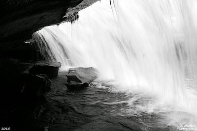 Behind The Falls Black And White Print by Lisa Wooten