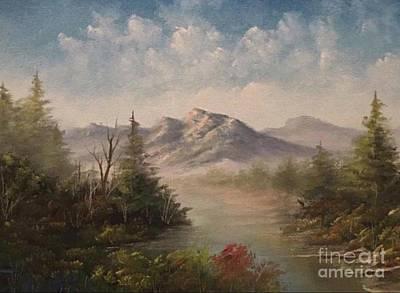 Behind The Pines  Art Print by Paintings by Justin Wozniak