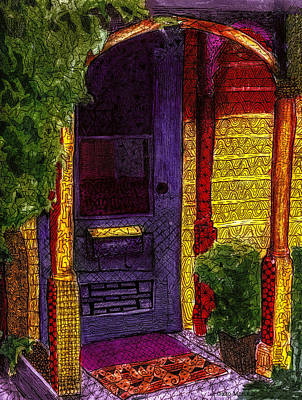 Inviting Drawing - Behind The Purple Door by Jo-Anne Gazo-McKim