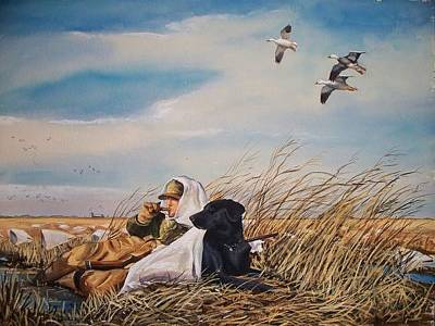 Snow Geese Painting - Behind You by Calvin Carter