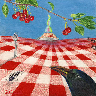 Table Cloth Drawing - Behold Pie by Bon Vernarelli
