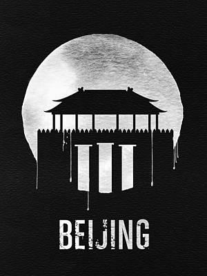Beijing Digital Art - Beijing Landmark Black by Naxart Studio