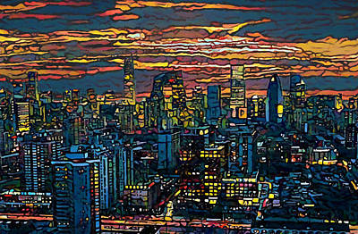 Painting - Beijing Skyline At Dusk by Dan Sproul