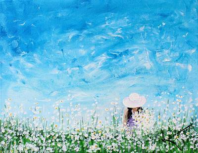 Painting - Being A Woman - #1 In A Field Of Daisies by Kume Bryant