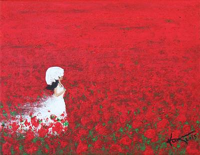 Being A Woman - #2 In A Field Of Poppies Art Print by Kume Bryant
