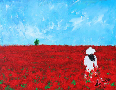 Painting - Being A Woman - #4 In A Field Of Poppies by Kume Bryant