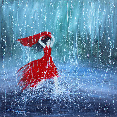 Painting - Being A Woman 7 - In The Rain by Kume Bryant