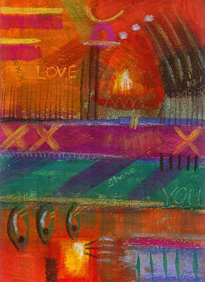 Print featuring the painting Being In Love by Angela L Walker