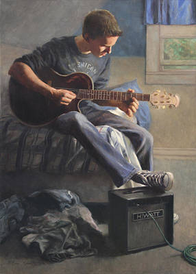 Guitar Player Painting - Being Sixteen by Anna Rose Bain